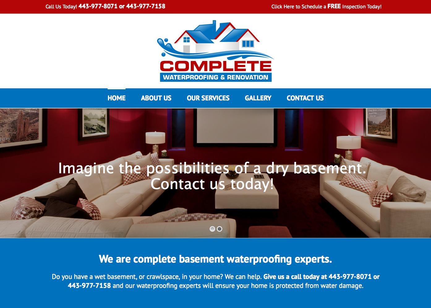 Website, Branding (and more!) for Complete Waterproofing & Renovation - Eyler Creative