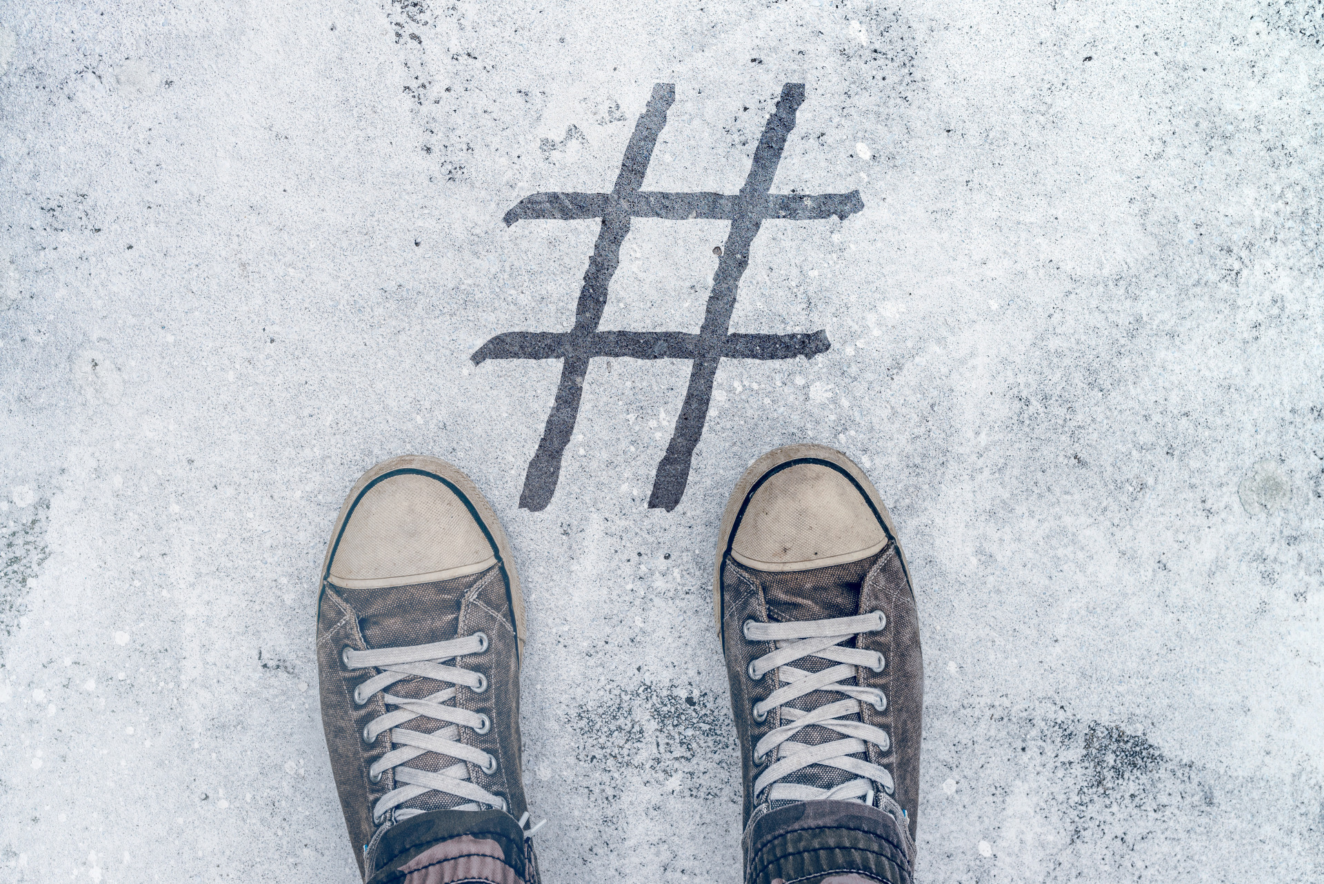 Shoes in front of a hashtag symbol - internet marketing baltimore - Eyler Creative